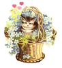 Vintage Clipart Kitten In Flower Basket Image